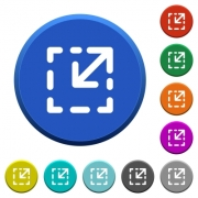 Resize element round color beveled buttons with smooth surfaces and flat white icons - Resize element beveled buttons