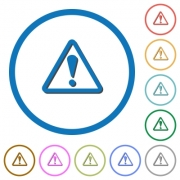 Triangle shaped warning sign flat color vector icons with shadows in round outlines on white background - Triangle shaped warning sign icons with shadows and outlines