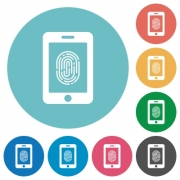 Smartphone fingerprint identification flat white icons on round color backgrounds - Smartphone fingerprint identification flat round icons