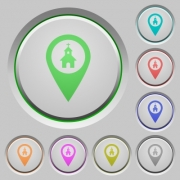 Church GPS map location color icons on sunk push buttons - Church GPS map location push buttons