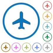 Airplane flat color vector icons with shadows in round outlines on white background - Airplane icons with shadows and outlines