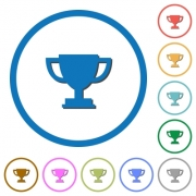 Trophy cup flat color vector icons with shadows in round outlines on white background - Trophy cup icons with shadows and outlines
