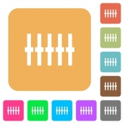 Graphical equalizer flat icons on rounded square vivid color backgrounds. - Graphical equalizer rounded square flat icons