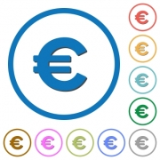 Euro sign flat color vector icons with shadows in round outlines on white background - Euro sign icons with shadows and outlines
