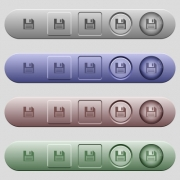 Floppy disk icons on rounded horizontal menu bars in different colors and button styles - Floppy disk icons on menu bars