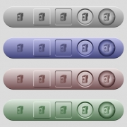 Ink cartridge icons on rounded horizontal menu bars in different colors and button styles - Ink cartridge icons on menu bars