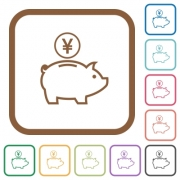 Yen piggy bank simple icons in color rounded square frames on white background - Yen piggy bank simple icons