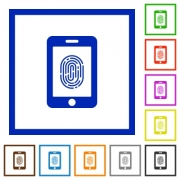 Smartphone fingerprint identification flat color icons in square frames on white background - Smartphone fingerprint identification flat framed icons