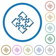 Puzzle pieces flat color vector icons with shadows in round outlines on white background - Puzzle pieces icons with shadows and outlines