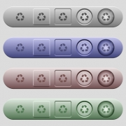 Recycling symbol icons on rounded horizontal menu bars in different colors and button styles - Recycling symbol icons on menu bars