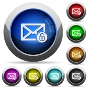 Unlock mail icons in round glossy buttons with steel frames - Unlock mail round glossy buttons