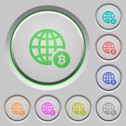 Online Bitcoin payment color icons on sunk push buttons - Online Bitcoin payment push buttons