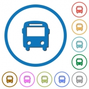 Bus flat color vector icons with shadows in round outlines on white background - Bus icons with shadows and outlines