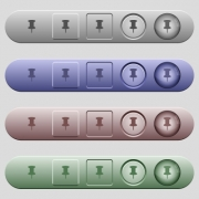 Push pin icons on rounded horizontal menu bars in different colors and button styles - Push pin icons on menu bars