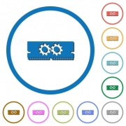 Memory optimization flat color vector icons with shadows in round outlines on white background - Memory optimization icons with shadows and outlines