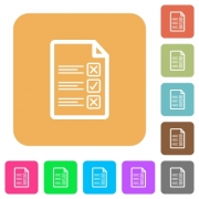Questionnaire document flat icons on rounded square vivid color backgrounds. - Questionnaire document rounded square flat icons