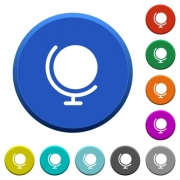 Globe round color beveled buttons with smooth surfaces and flat white icons - Globe beveled buttons