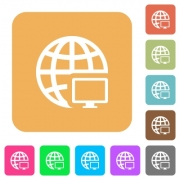 Remote terminal flat icons on rounded square vivid color backgrounds. - Remote terminal rounded square flat icons