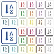 Alphabetically ascending ordered list color flat icons in rounded square frames. Thin and thick versions included. - Alphabetically ascending ordered list flat color icons