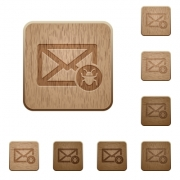 Spam mail on rounded square carved wooden button styles - Spam mail wooden buttons