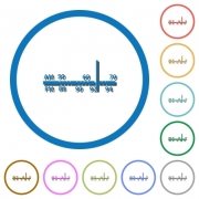 Radio tuner flat color vector icons with shadows in round outlines on white background - Radio tuner icons with shadows and outlines
