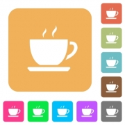 Cup of coffee flat icons on rounded square vivid color backgrounds.