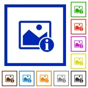 Image info flat color icons in square frames on white background - Image info flat framed icons