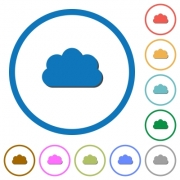 Cloud flat color vector icons with shadows in round outlines on white background - Cloud icons with shadows and outlines