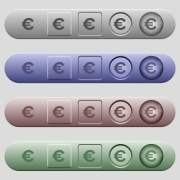 Euro sign icons on rounded horizontal menu bars in different colors and button styles - Euro sign icons on menu bars