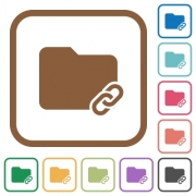 Folder link simple icons in color rounded square frames on white background - Folder link simple icons