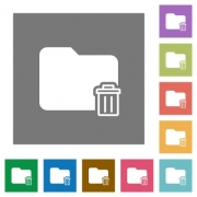 Delete folder flat icons on simple color square backgrounds - Delete folder square flat icons