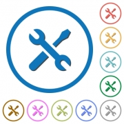 Maintenance flat color vector icons with shadows in round outlines on white background - Maintenance icons with shadows and outlines