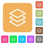 Layers flat icons on rounded square vivid color backgrounds. - Layers rounded square flat icons