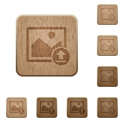 Upload image on rounded square carved wooden button styles - Upload image wooden buttons