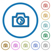Camera flat color vector icons with shadows in round outlines on white background - Camera icons with shadows and outlines
