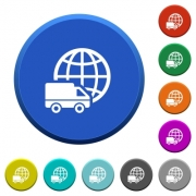International transport round color beveled buttons with smooth surfaces and flat white icons - International transport beveled buttons