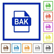BAK file format flat color icons in square frames on white background - BAK file format flat framed icons
