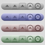 Ringing bell icons on rounded horizontal menu bars in different colors and button styles - Ringing bell icons on menu bars