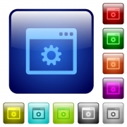 Application settings icons in rounded square color glossy button set - Application settings color square buttons