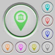 Bank office GPS map location color icons on sunk push buttons