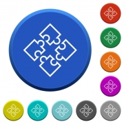 Puzzle pieces round color beveled buttons with smooth surfaces and flat white icons - Puzzle pieces beveled buttons