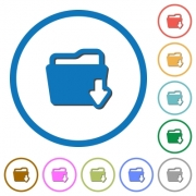 Download folder flat color vector icons with shadows in round outlines on white background - Download folder icons with shadows and outlines