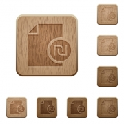 New Shekel report on rounded square carved wooden button styles - New Shekel report wooden buttons