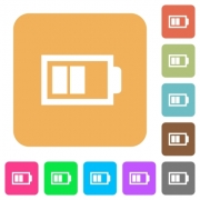 Half battery with two load units flat icons on rounded square vivid color backgrounds. - Half battery with two load units rounded square flat icons