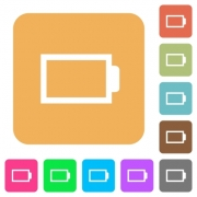 Empty battery without load units flat icons on rounded square vivid color backgrounds. - Empty battery without load units rounded square flat icons