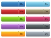 Old key engraved style icons on long, rectangular, glossy color menu buttons. Available copyspaces for menu captions. - Old key icons on color glossy, rectangular menu button