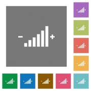Control element flat icons on simple color square backgrounds - Control element square flat icons
