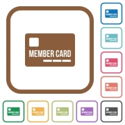 Member card simple icons in color rounded square frames on white background - Member card simple icons