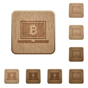 Laptop with Bitcoin sign on rounded square carved wooden button styles - Laptop with Bitcoin sign wooden buttons