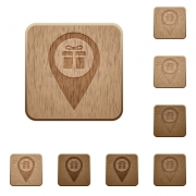 Gift shop GPS map location on rounded square carved wooden button styles - Gift shop GPS map location wooden buttons